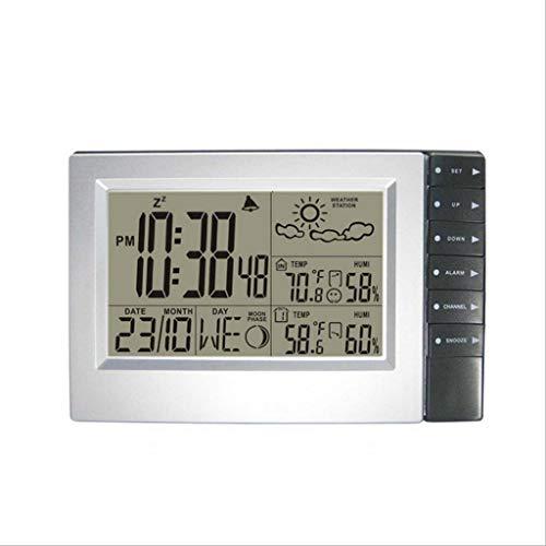 Haushaltswetteruhr Digitaler Zeit- und Datumswecker für den Innen- und Außenbereich Multifunktions-Thermometer und Hygrometer (Color : Silver, Größe : 7.87 * 5.11inch)