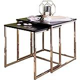 Wohnling Satztisch CALA Schwarz/Kupfer Beistelltisch MDF/Metall | Couchtisch Set aus 2 Tischen | Kleiner Wohnzimmertisch | Metalltisch mit Holzplatte | Ablagetisch modern