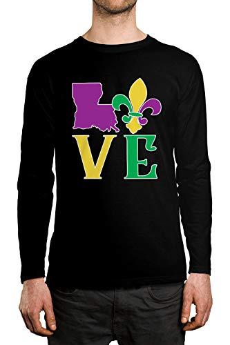 SpiritForged Apparel Herren Langarmshirt Love Louisiana - Schwarz - X-Groß