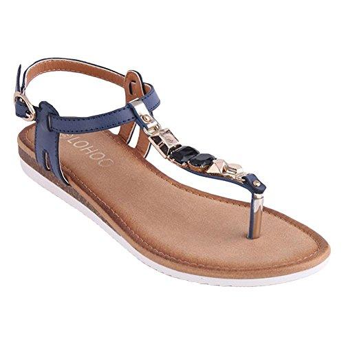 Sandales plates à la roche de style roman aux femmes d'été blue