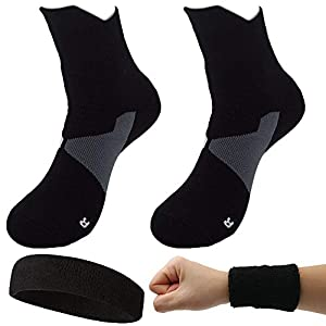 Dee Plus 2 Paar Outdoor Sportsocken Basketballsocken | Fußball Socken | Trekkingsocken | Wandersocken | Outdoorsocken | Funktionssocken Set Atmungsaktiv Für Damen & Herren mit Stirnband/Armbänder
