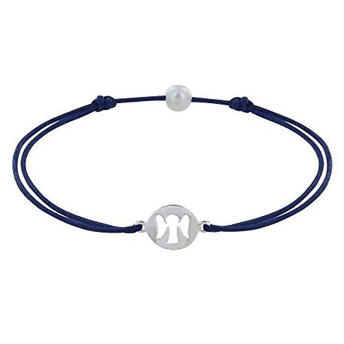 Schmuck Les Poulettes - Sterling Silber Angel Medaille Armband auf gewachsten Schnur - Classics - Blau