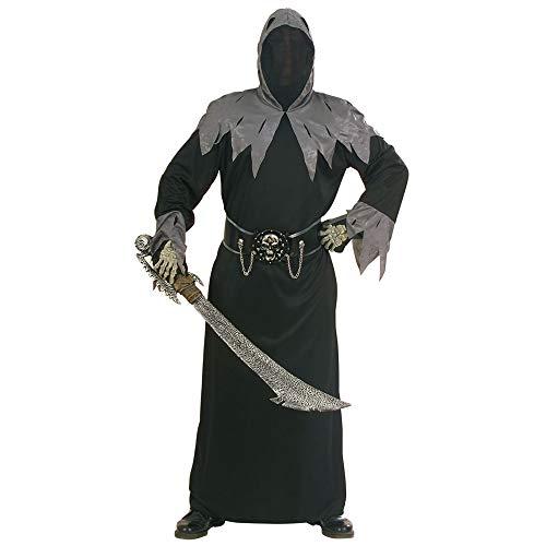 Widmann 56811 - Kostüm Skull Warlord - Tunika mit Kapuze, Maske für unsichtbares Gesicht, Schnallen Gürtel und Ketten - Gr. S