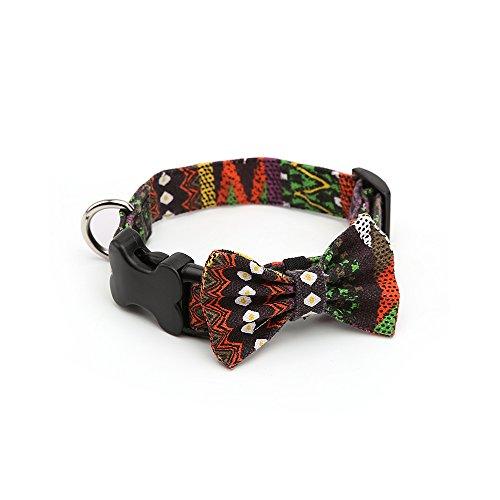 ndehalsband mit Schleife, Bunte Muster Leinwand Basic Halsband Charm Halskette Outfits Zubehör für Hunde ()
