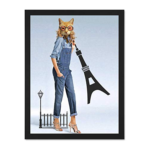 Doppelganger33 LTD Catwoman Cat Spectacles Giant Wall Art Large Framed Art Print Poster Wall Decor 18x24 inch Supplied Ready to Hang