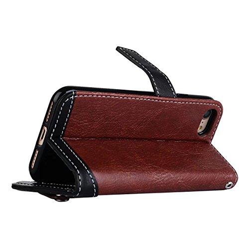 JIALUN-Telefon Fall Case Litchi Texture Dual Farbe genäht PU Leder Tasche mit Lanyard & Niet Button für iPhone 7 ( Color : Gray ) Brown