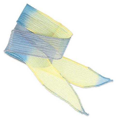 Seiden Schrägband 25mm Tie and Dye Dadelion Blue/Lavender/Jaune x85cm (SchrÄgband Seiden)