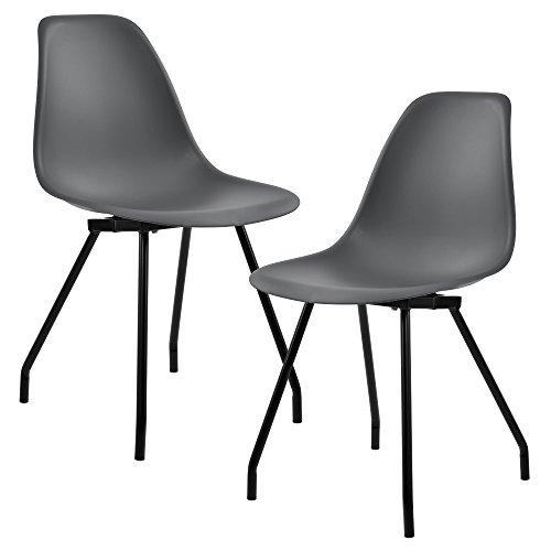 [en.CASA] 2 chaises de Design du Plastique - Pieds stabils en Acier - Gris foncé