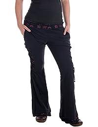 Vishes – Alternative Bekleidung – Hippie Schlaghose aus Baumwolle – mit Bändern und Blumendruck