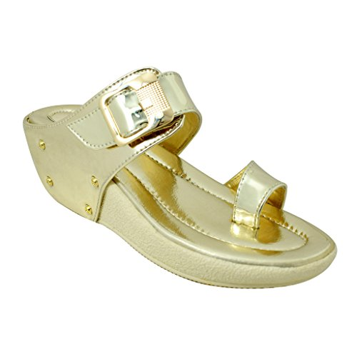 Miss. Polo Golden Wedge Heel Party Wear Sandals  available at amazon for Rs.399