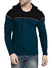 Fenoix Men's Cotton T-Shirt Hooded Peacock