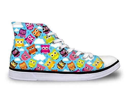 Couple Shoes Cartoon Owl Hi Top Women Men Canvas Trainers Shoes Flat Plimsolls Green C2003AK. UK 11.5\u002FEU45 -