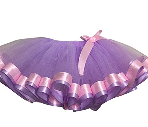 SK Studio Girls Layered Ribbon Bow Rainbow Tutu Skirt Dance Ruffle Tiered Clubwear