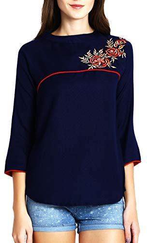 Triumphin Women's Cotton Embroidered Short Top Kurti (Blue, Large)
