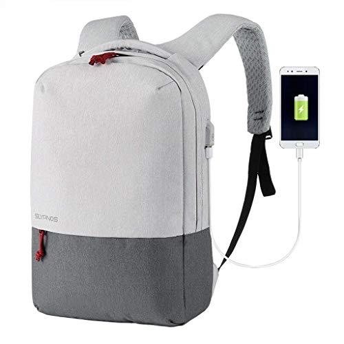 SLYPNOS Mochila para Portátil 15,6 Pulgadas con Puerto de Carga USB Negocio Backpack Escuela del Trabajo Diario Estudio para Hombre Mujer Estudiante (Gris)