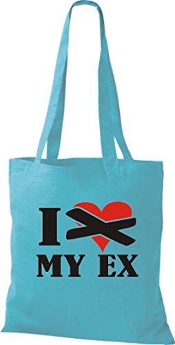 Crocodile pas leur i love my eX coton sac à bandoulière, sac de plusieurs couleurs Bleu - sky