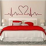 Cama Cabecero Etiqueta de la pared Electrocardiograma del corazón cuyo gráfico muestra un corazón.Diseño ideal para los amantes de la cabecera de la cama dormitorio calcomanía191 * 57 cm