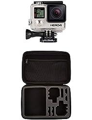 GoPro HERO4 Black Adventure Actionkamera (12 Megapixel, 41,0 mm x 59,0 mm x 29,6 mm)  und AmazonBasics Tragetasche für GoPro Actionkameras, Gr. L