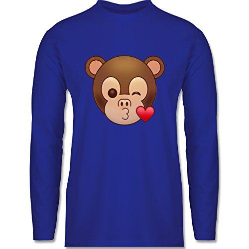 Comic Shirts - Küsschen Äffchen Emoji - Longsleeve / langärmeliges T-Shirt für Herren Royalblau