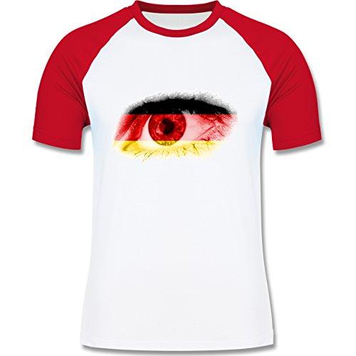 EM 2016 - Frankreich - Auge Bodypaint Deutschland - zweifarbiges Baseballshirt für Männer Weiß/Rot