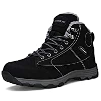Ulogu Mens Winter Shoes Warm Lining Snow Boots Waterproof Outdoor Hiking Shoes Black