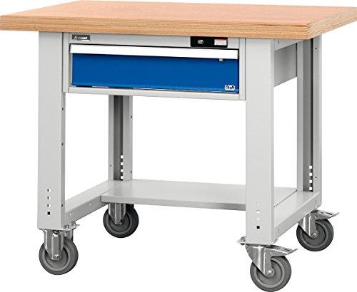 Universal-Werkbank fahrbar mit Ablageboden mit Buche-Multiplex-Platte 1000/1AM