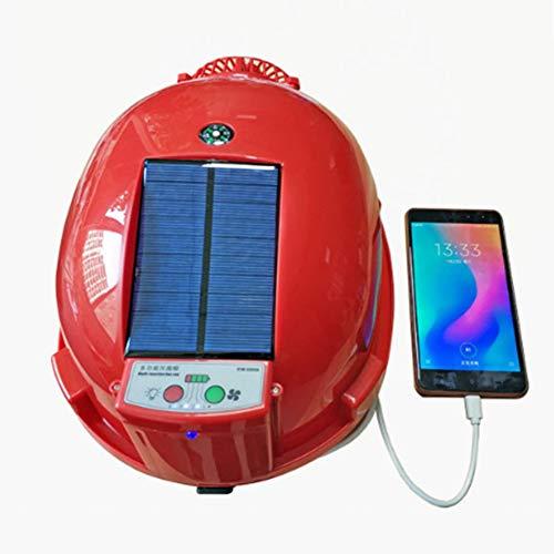 Joyfitness Sommer Lade Fan Hard Hat SolarFan Cap Ventilation Kühl Abteilung Anti-Mite mit Mobile Power Taschenlampe Schutzkappe,Rot