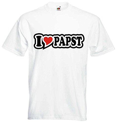 T-Shirt I Love Heart Herren I LOVE PAPST Weiß