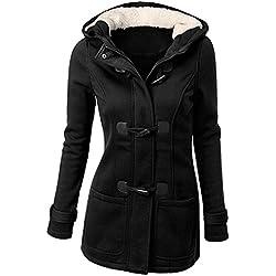 5e0837e38ac Mujer Invierno Abrigo Casual Sudadera con Capucha Chaqueta de Capa Jacket  Parka Pullover Negro 3XL