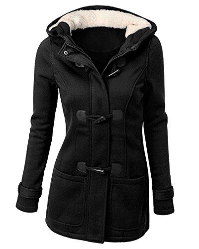 Mujer Invierno Abrigo Casual Sudadera con Capucha Chaqueta de Lana Capa Jacket Parka Pullover Negro...