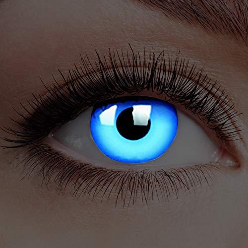 Farbige Kontaktlinsen Leuchtend ohne Stärke Rand Glow Blue UV Blau Motiv-Linsen Halloween Karneval Fasching Cosplay Anime Manga Blaue Augen Eye Devil Neon Deep Eisblau Engel Elfe