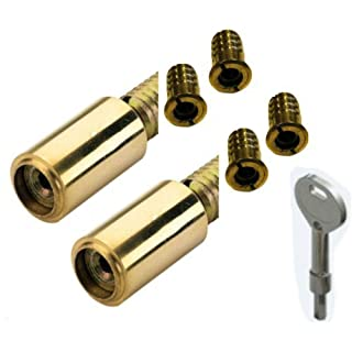 Brass Sliding Sash Window Stops with Key Twin Pack by Discount Hardware UK