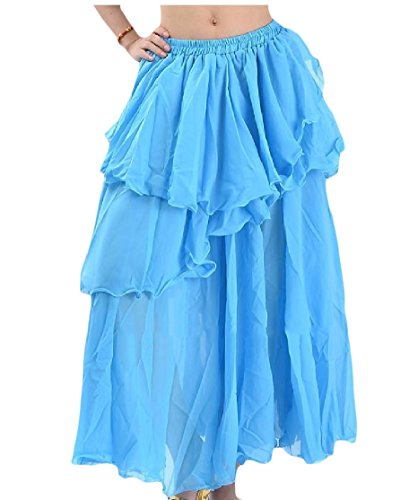 CuteRose Women's Pure Color Belly Dance Tiered Skirt Chiffon Long Skirt Lake Blue OS (Tiered Floral Skirt)