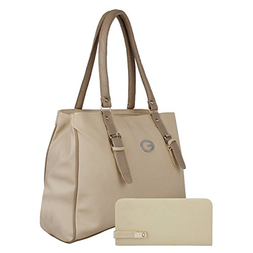 Alice Women's And Girls Pu Stylish Handbag And Wallet Clutch Combo(Cream)