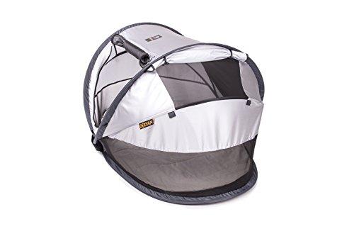 Deryan Reisebett/Travel-cot Peuter Reisebettzelt inklusive Schlafmatte, selbstaufblasbarer Luftmatratze und Tragetasche mit Pop-Up innerhalb 2 Sekunden aufgebaut, silver