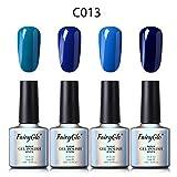 Esmalte de Uñas Semipermanente Uñas de Gel UV LED Kit de Manicura Serie de Color Azul 4pcs Manicura y Pedicura de Fairyglo-C013