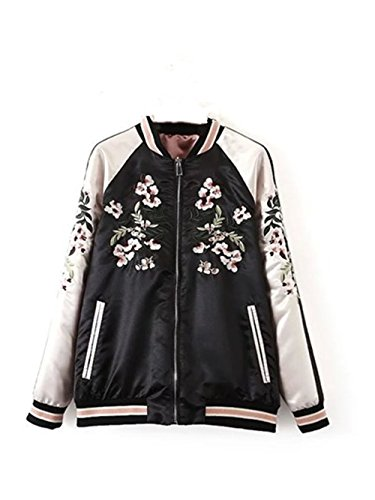 Ecollection Damen Jahrgang Bomberjacke Stickerei Klassisch Bikerjacke Mantel Vintage Bomber Jacket Flower Embroidery Classic Zip up Biker...