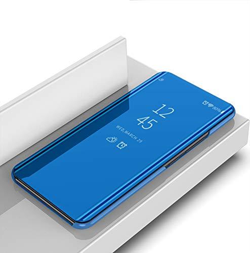 Brand Set Funda Xiaomi Mi A2 Lite,Espejo de Galjanoplastia Flip Case con función de suspensión/Despertador Adecuado para Xiaomi Mi A2 Lite-Azul