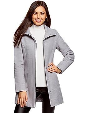 oodji Collection Mujer Abrigo con Cuello Alto y Acabado de Piel Sintética