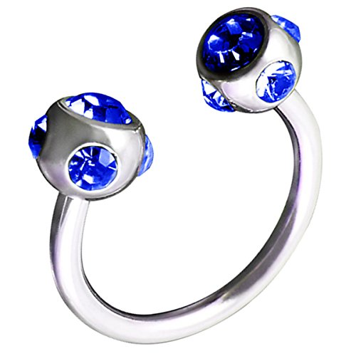 Piersando® Piercing Hufeisen Septum Ring Kugel mit Kristallen für Tragus Helix Nase Lippe Ohr Intim Nippel Augenbraue Brust Horseshoe Silber Blau (Diamant-septum-schmuck)