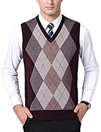 DianShaoA Hombre Sin Mangas Cuello En V Chaleco De Suéter Patrón De Rombo Negocio Punto Suéter Chalecos