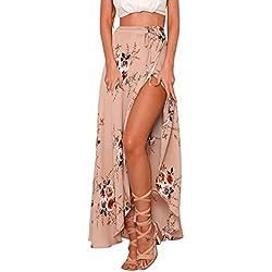 Hikong Falda Maxi de Mujer Verano Cintura Alta de Hendidura Asimétrico Flor Impresión Vestido Larga de Playa Moda