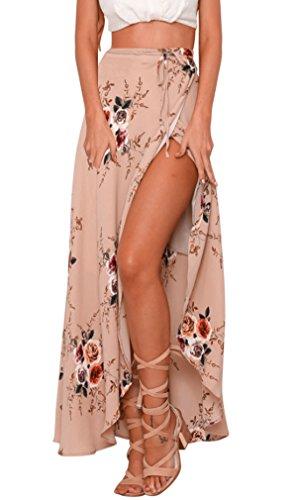 Hikong gonna lunga donna estate fiore stampato a vita alta gonne maxi a pieghe abito mare spiaggia asimmetrica elegante