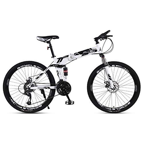 KOSGK Mountain Bike Biciclette per Bambini 21/24/27 velocità Telaio in Acciaio 27,5 Pollici Ruote A 3 Razze Bicicletta Pieghevole A Doppia Sospensione, Nero, 24 velocità