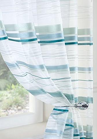 ORGANZA Voile, blaugrün, AQUA, Weiß, silberfarben, Nettogewicht Sheer Wellenvorhang Platte Größe:, Polyester, weiß, 150x120cm/59x47