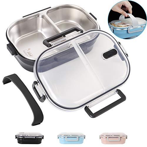 HOMESPON Lunchbox 2-Fach Bento Box Edelstahl auslaufsicheres Mittagessen Aufbewahrungsbehälter für Kinder Schule und Büro für Erwachsene