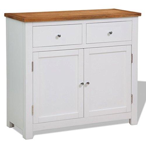 Festnight Sideboard Kommode Eiche-Tischplatte Lowboard als Telefonschrank 90 x 33,5 x 83 cm mit 2 Schubladen und 1 Schrankfach (2 Schublade-küche-insel)