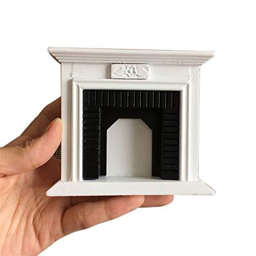TianranRT 1: 12 Puppenhaus Miniatur Möbel Zimmer Aus Holz Jahrgang Schwarz Weiß Kamin -