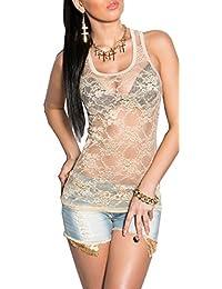 Damen Glitzer Pailletten Trägertop Tanktop Shirt Fransen Top Rippstrick*34 36 38