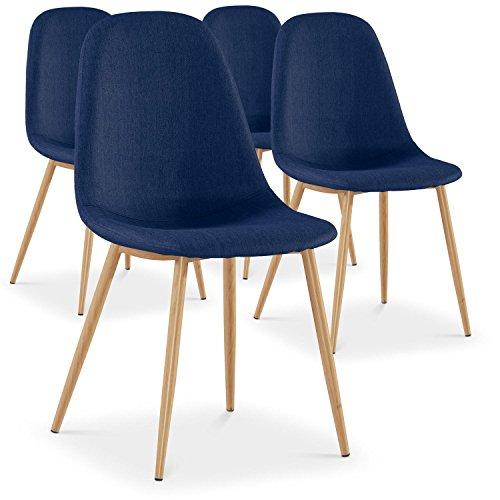 Menzzo Gao Lot de 4 Chaises Scandinave, Tissu, Bleu, 45 x 55 x 87 cm